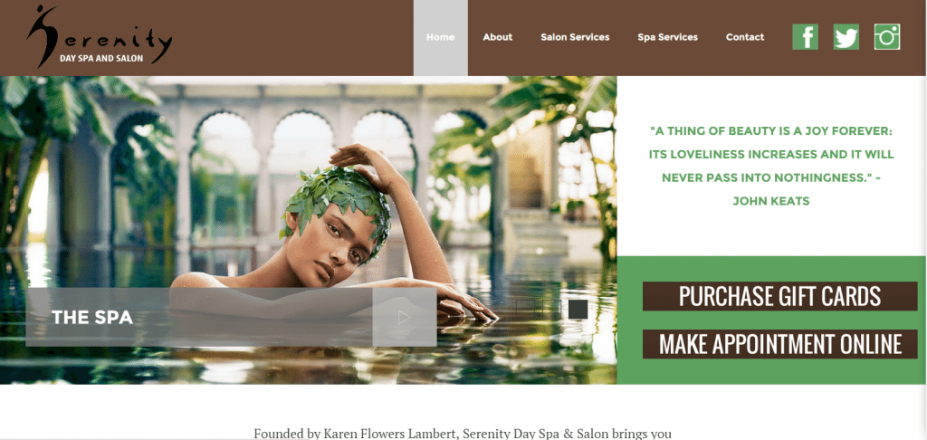 serenity day spa and salon website