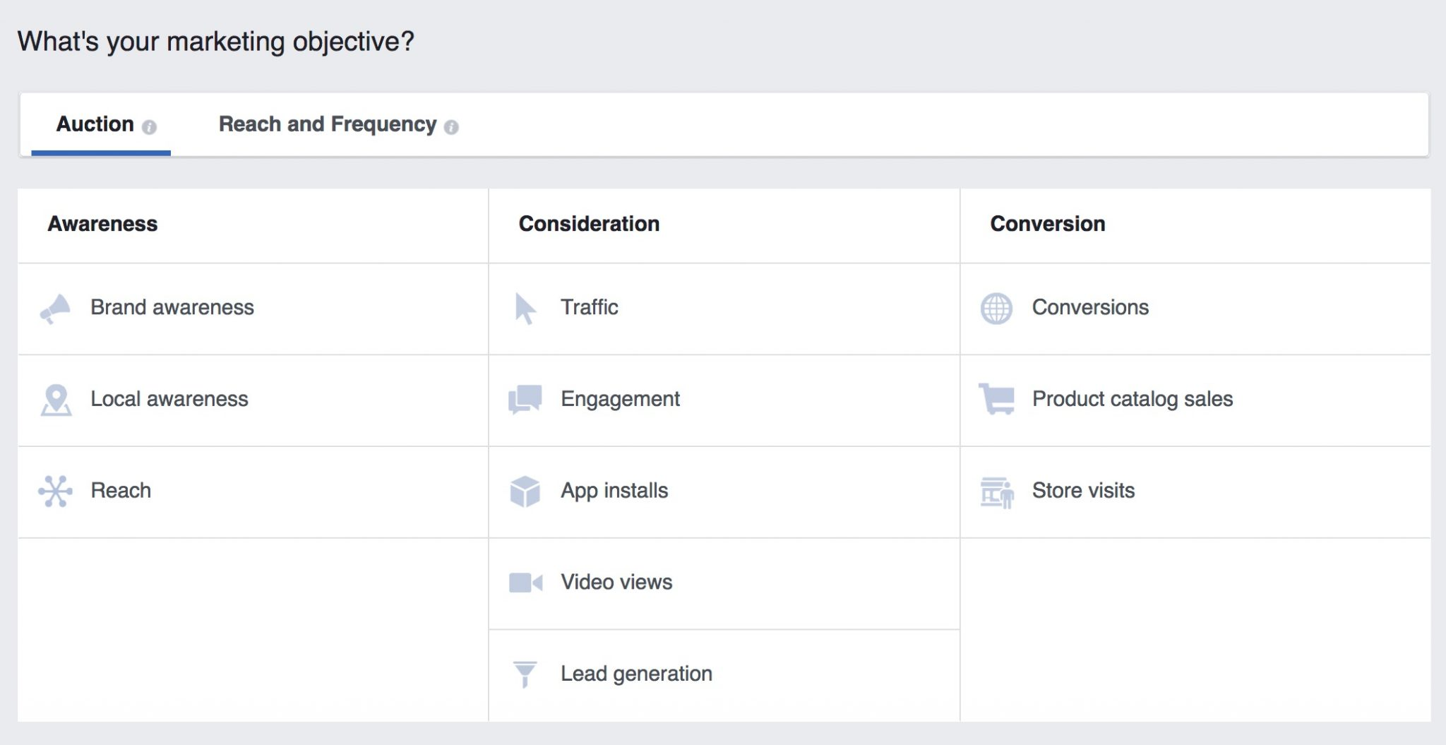 facebook advertising objective
